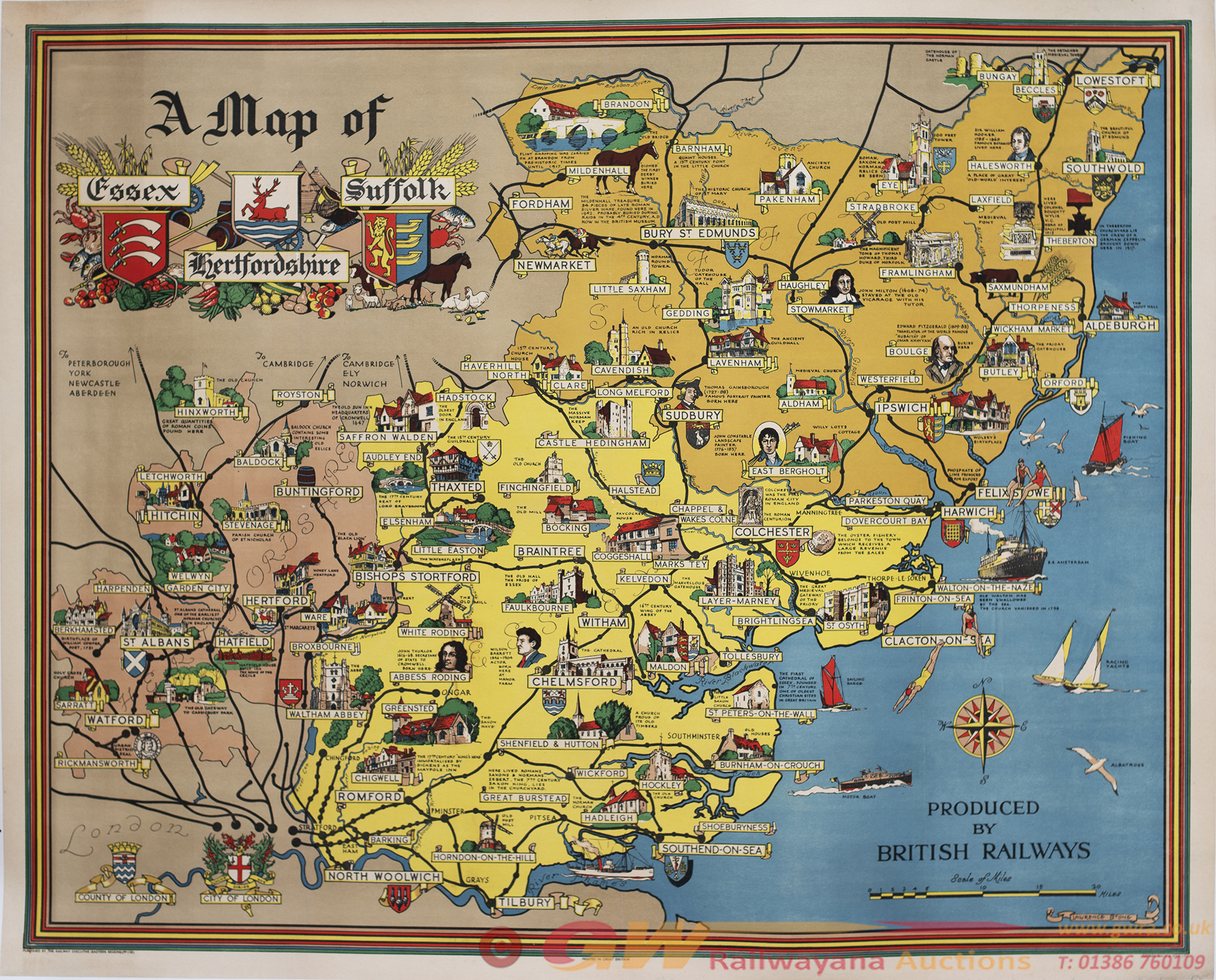 Poster BR(E) A MAP OF ESSEX HERTFORDSHIRE AND