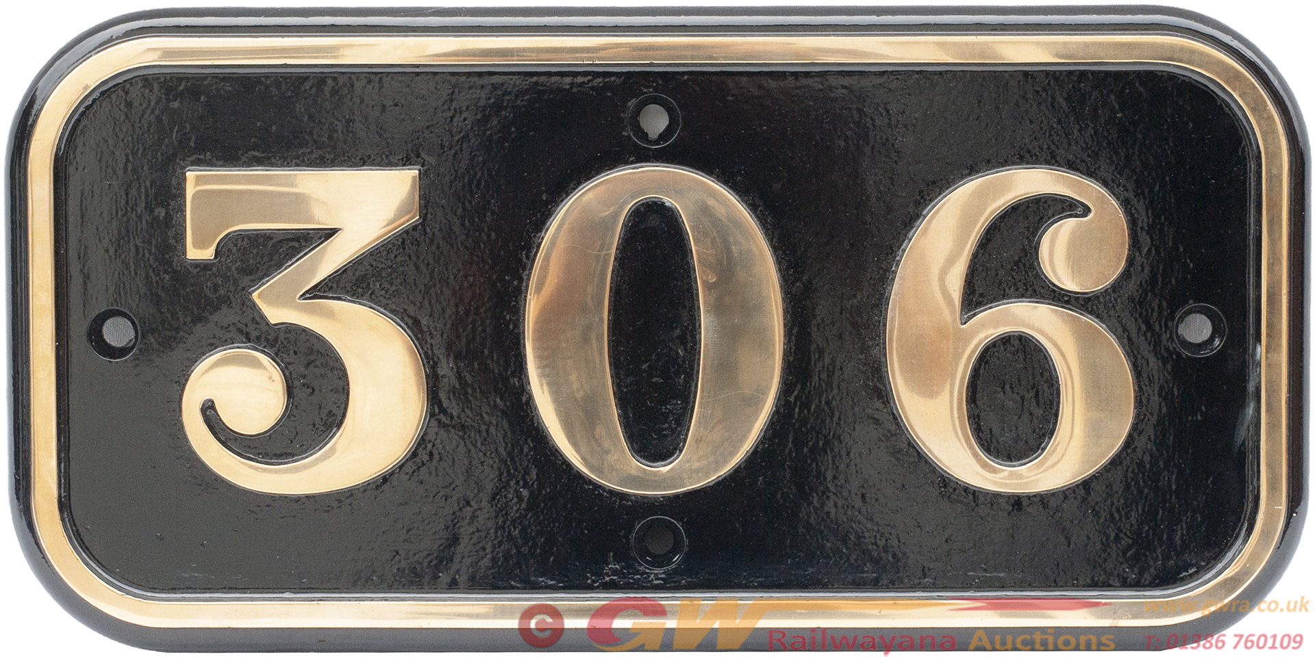 GWR Brass Cabside Numberplate 306 Ex Taff Vale