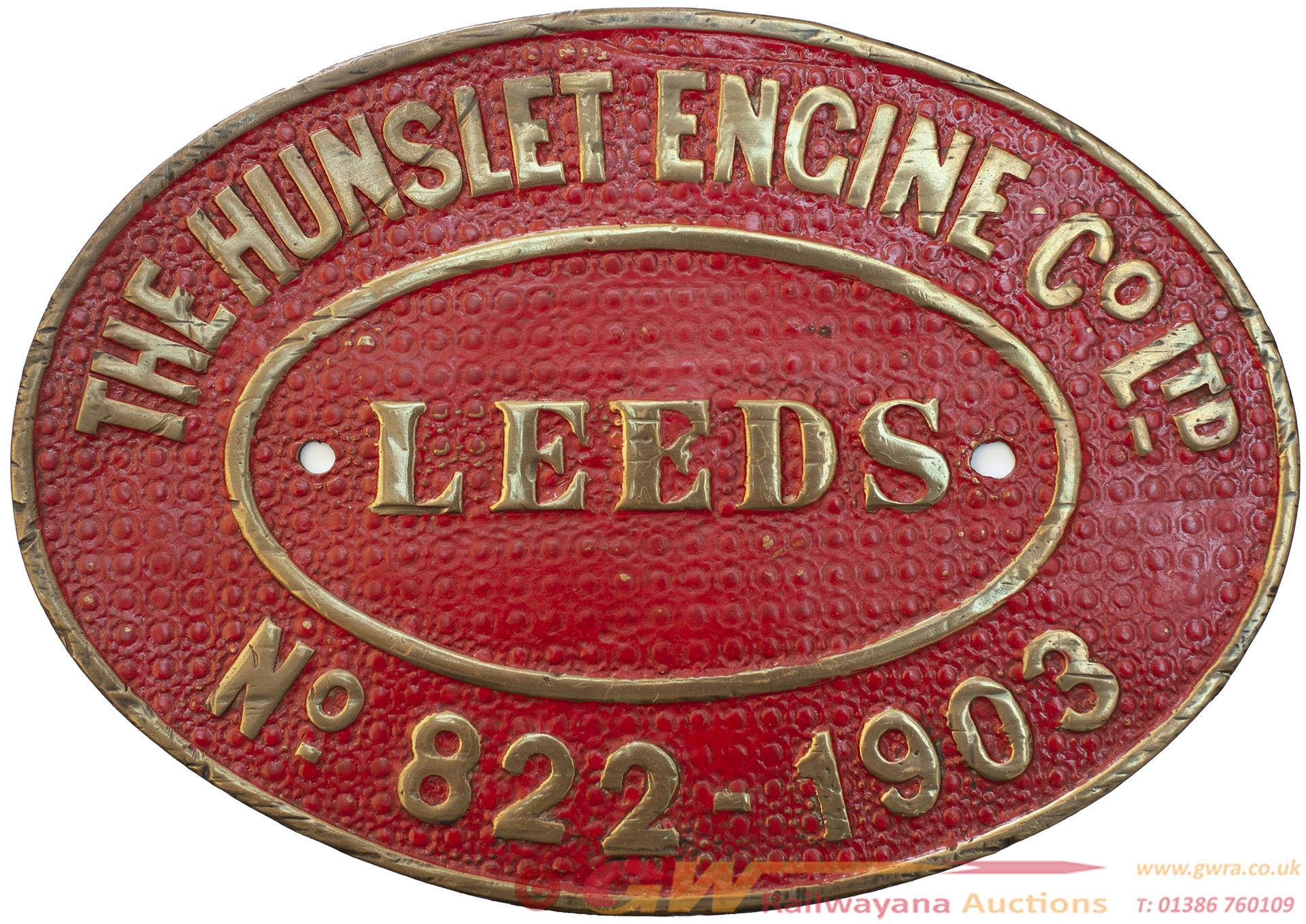 Worksplate THE HUNSLET ENGINE Co LTD LEEDS No 822