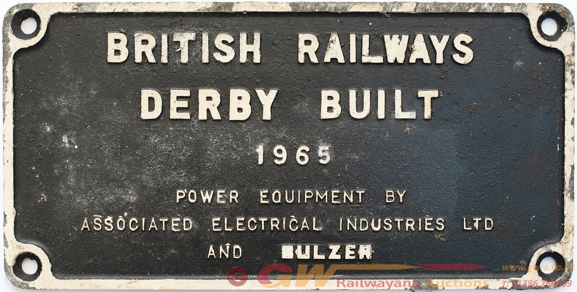 Worksplate BRITISH RAILWAYS DERBY BUILT 1965 POWER