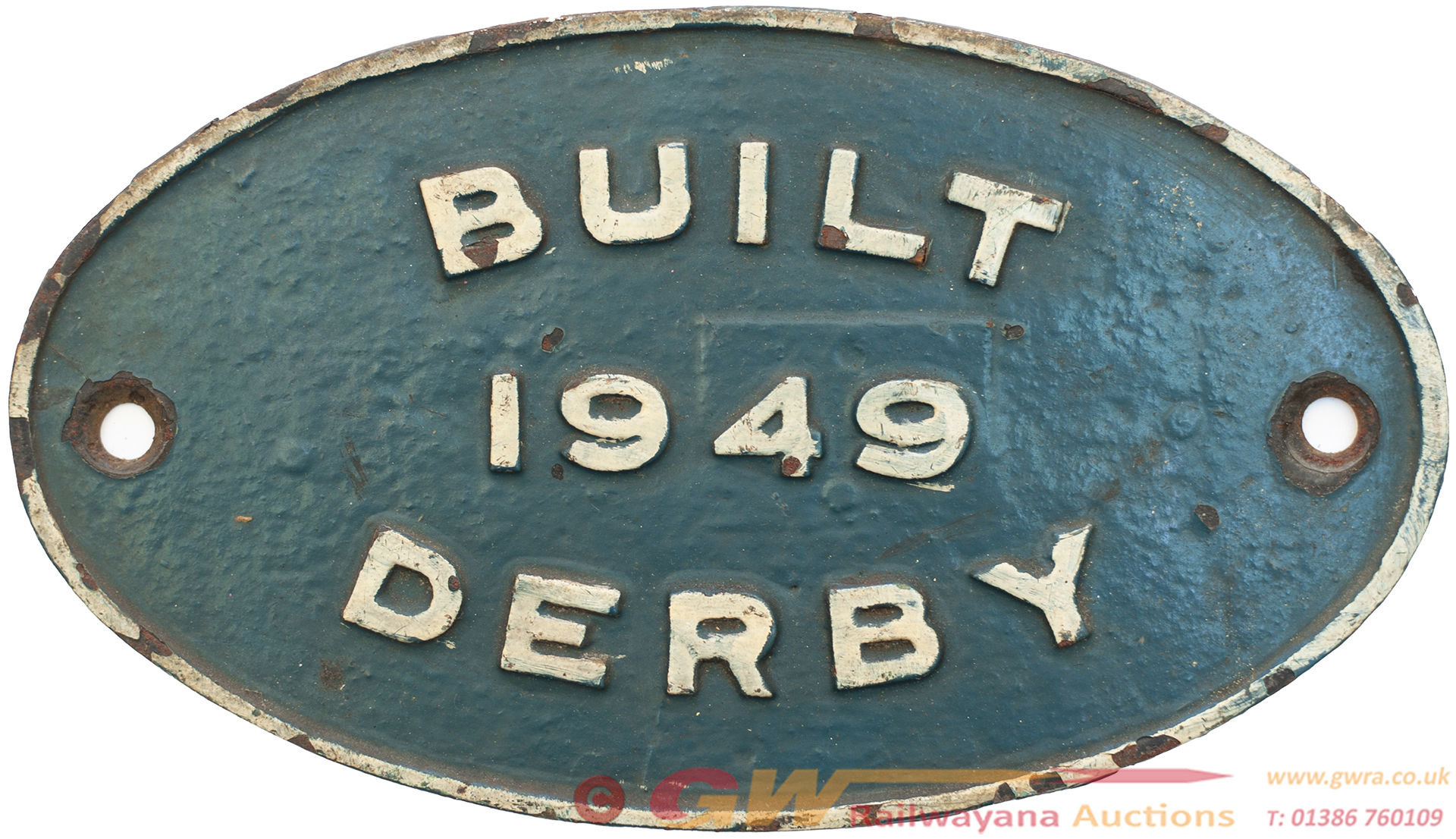 Worksplate BUILT 1949 DERBY Ex British Railways