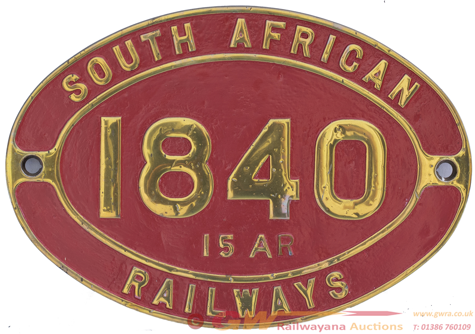 South African Railways Brass Cabside Numberplate