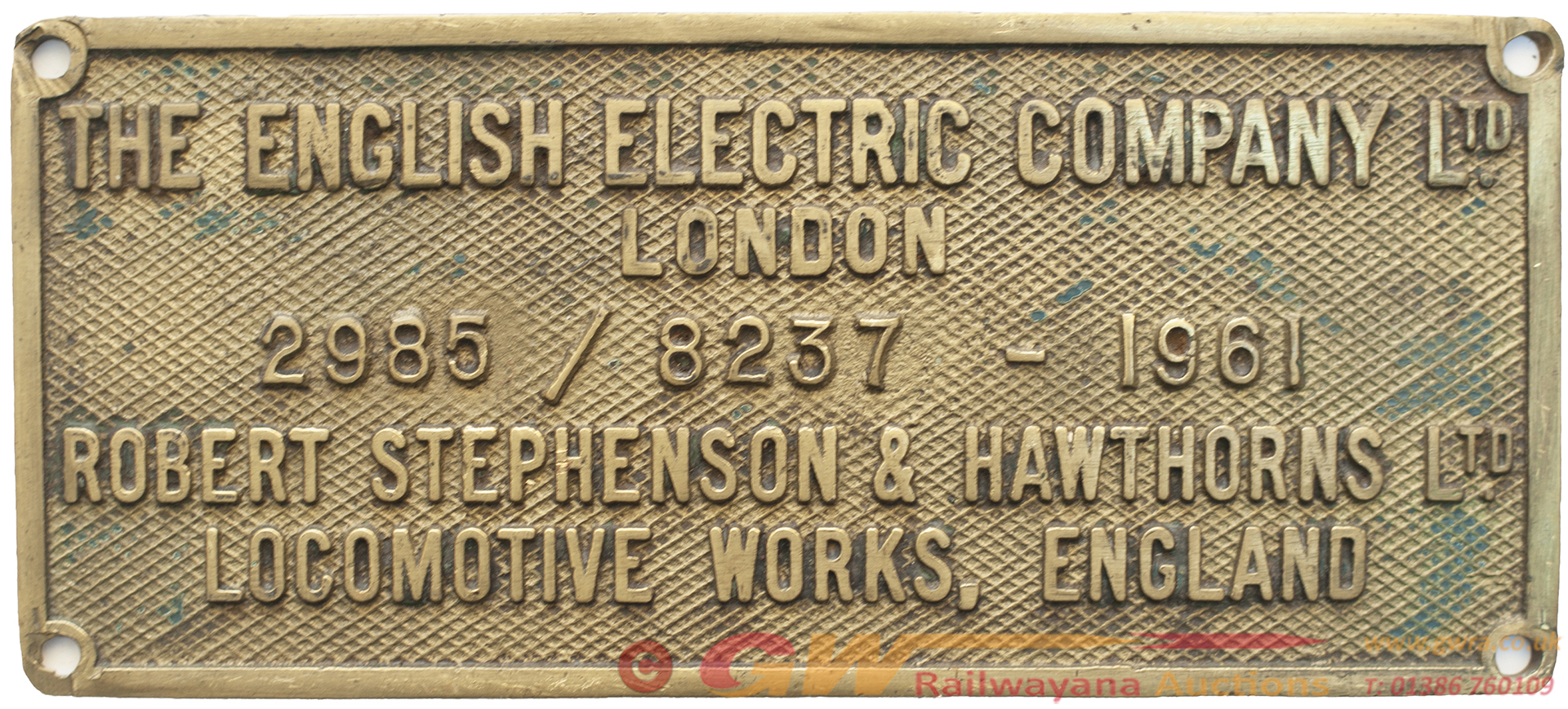 Worksplate THE ENGLISH ELECTRIC COMPANY LTD ROBERT