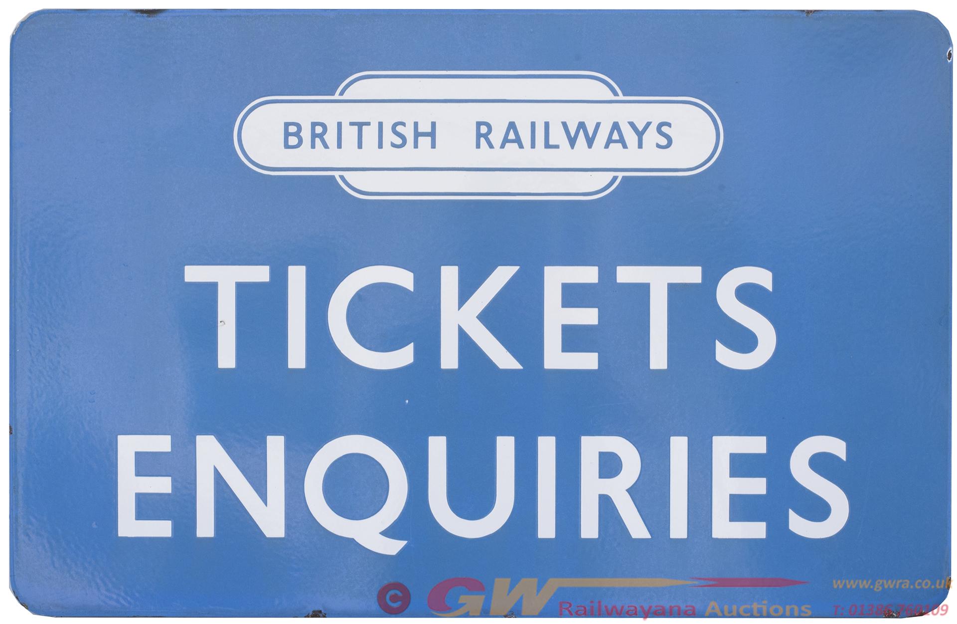 BR(SC) FF Enamel Railway Sign TICKETS ENQUIRIES