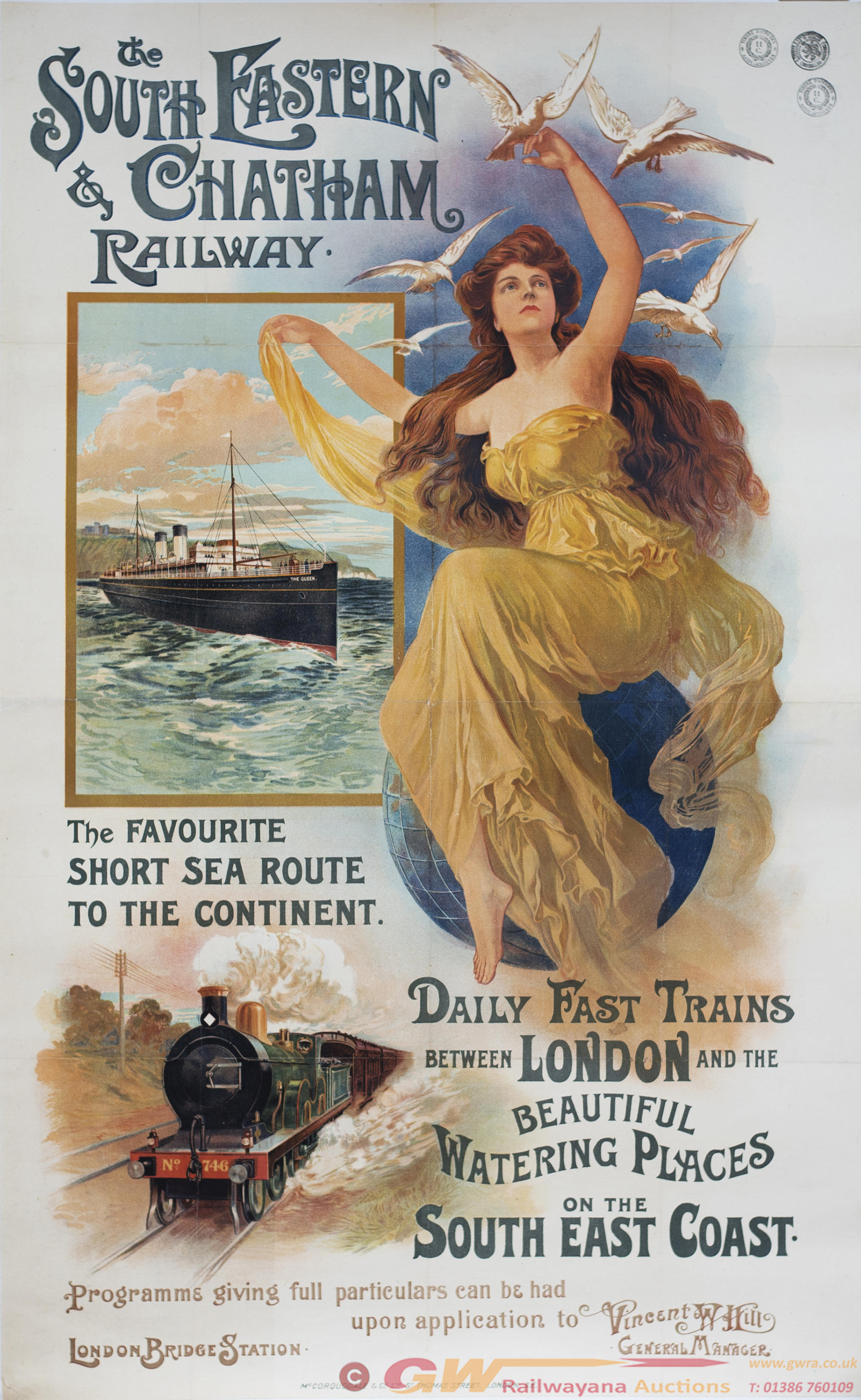 Poster SE&CR THE SOUTH EASTERN & CHATHAM RAILWAY