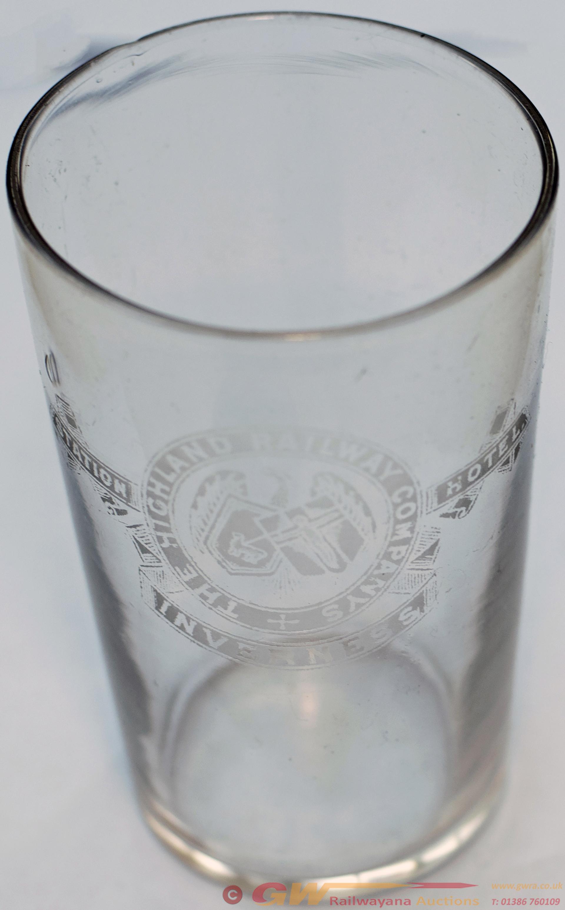 Highland Railway Half Pint Glass Marked On The