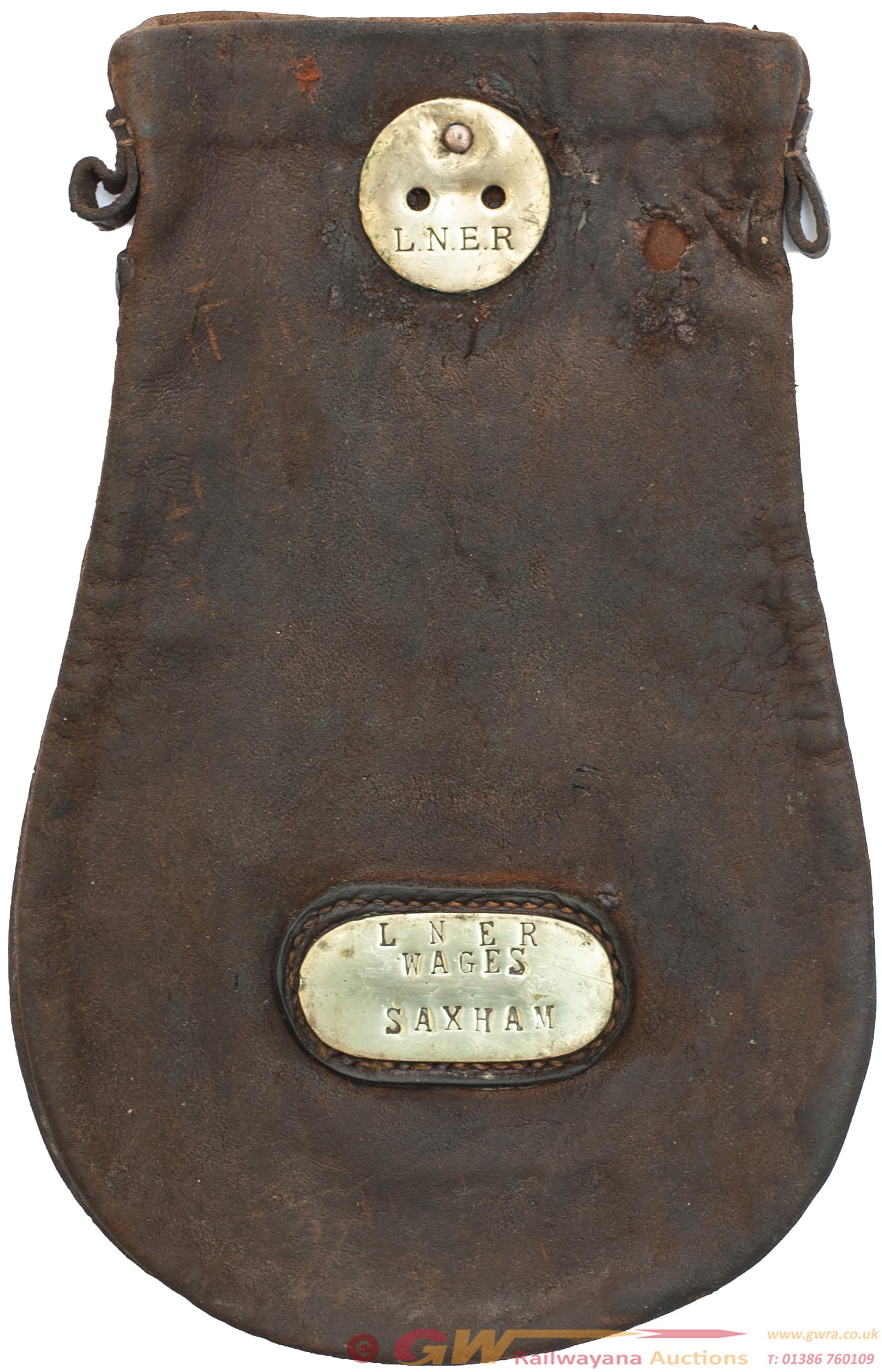 LNER Leather Cash Bag Brass Plated LNER WAGES