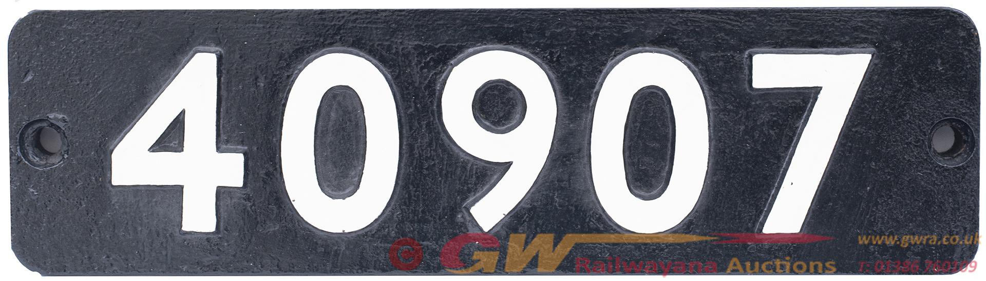 Smokebox Numberplate 40907 Ex LMS Fowler 4p  4-4-0