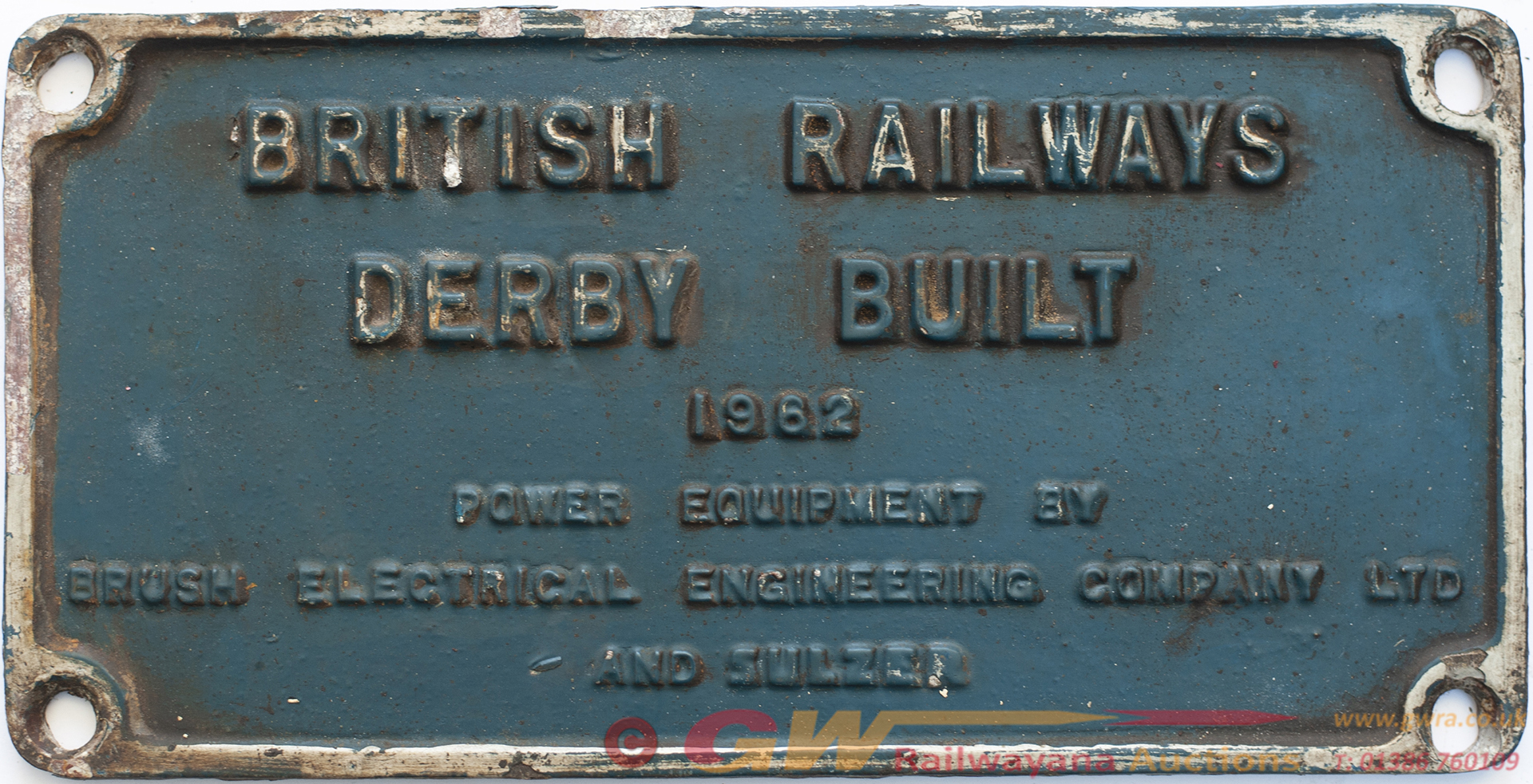 Worksplate BRITISH RAILWAYS DERBY BUILT 1962 POWER
