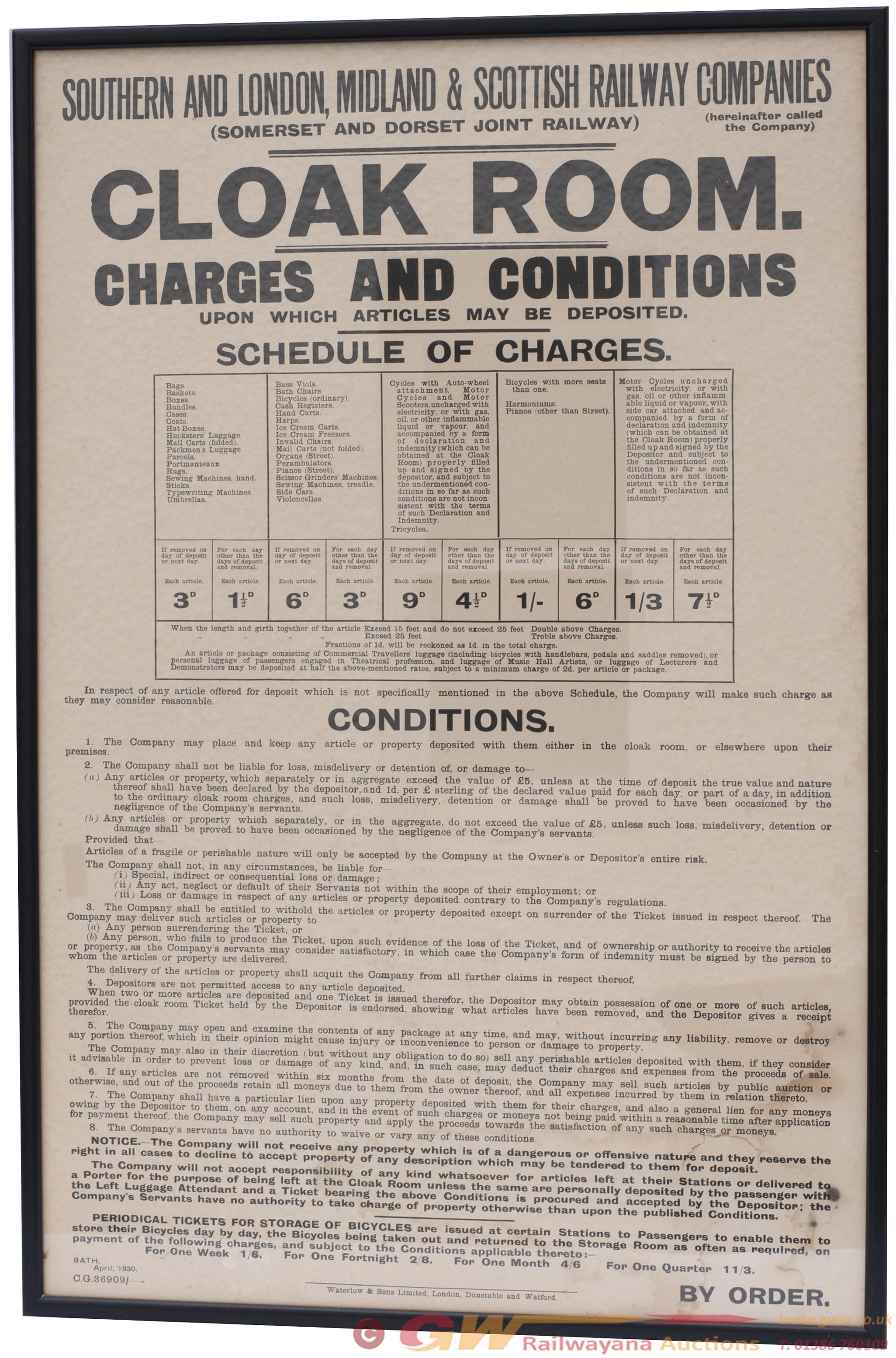 Poster SOMERSET AND DORSET JOINT RAILWAY CLOAK
