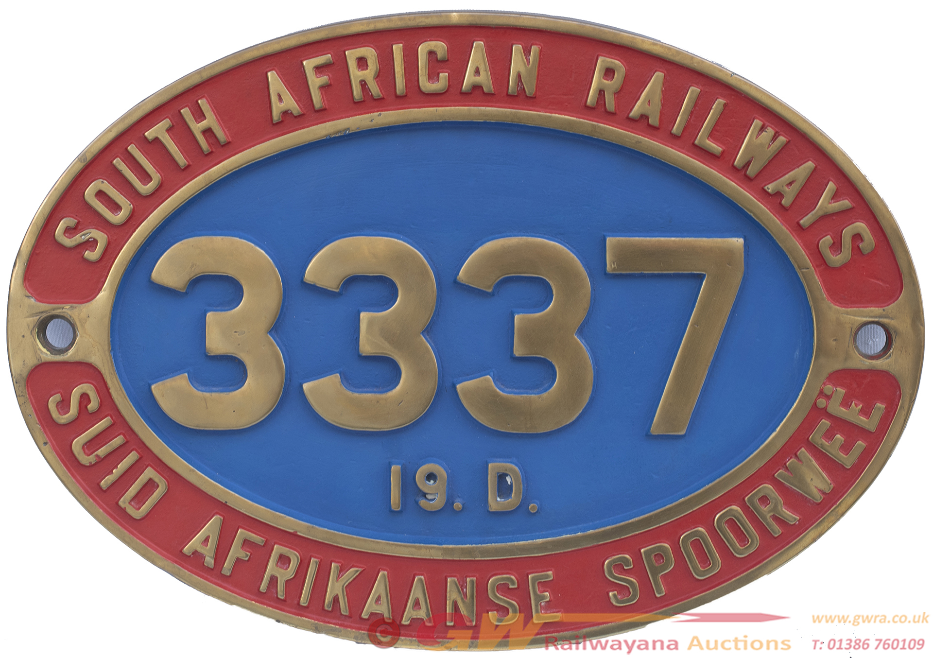 South African Railway Brass Cabside Numberplate