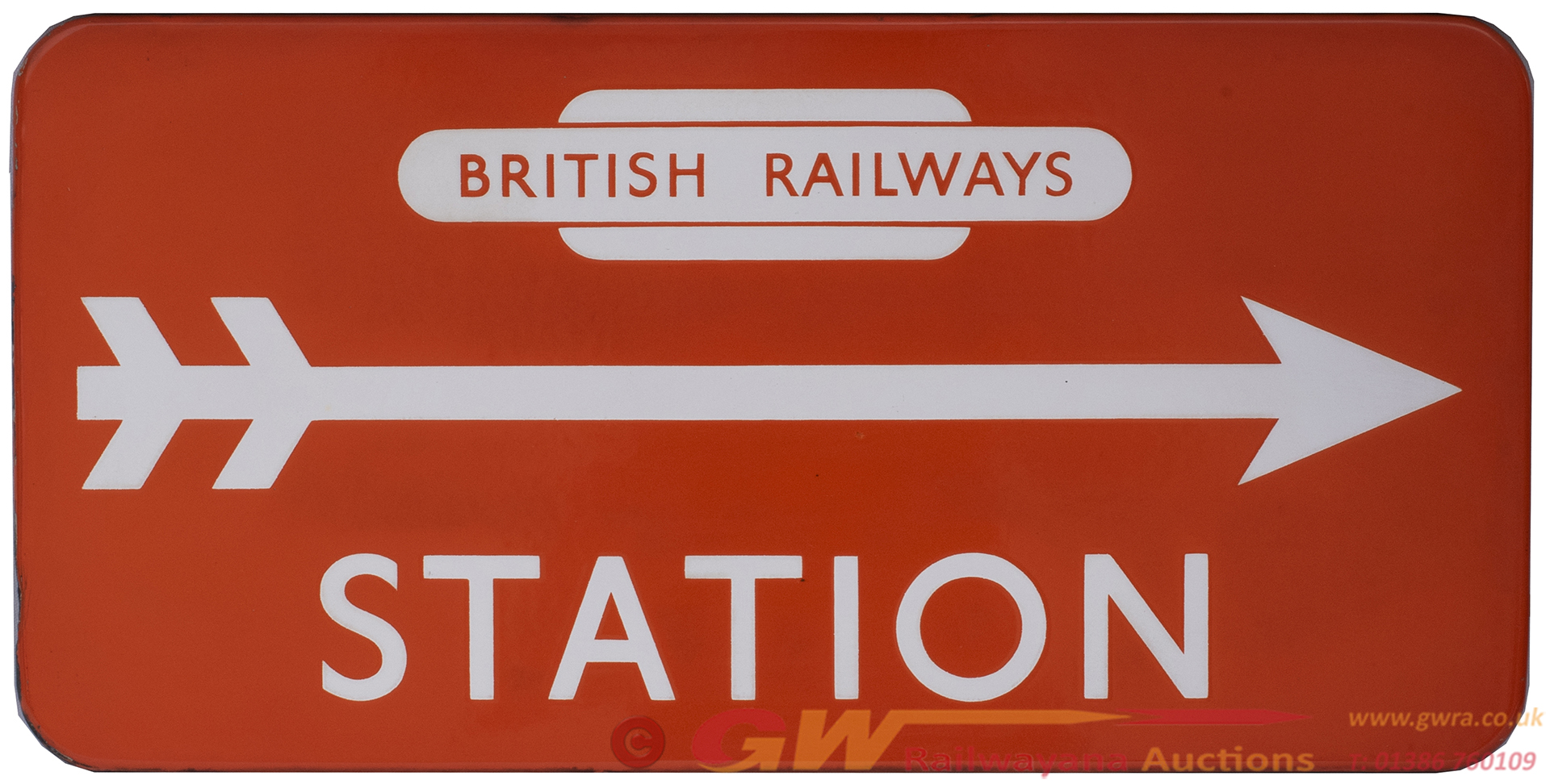 BR(NE) FF Enamel Station Direction Sign STATION