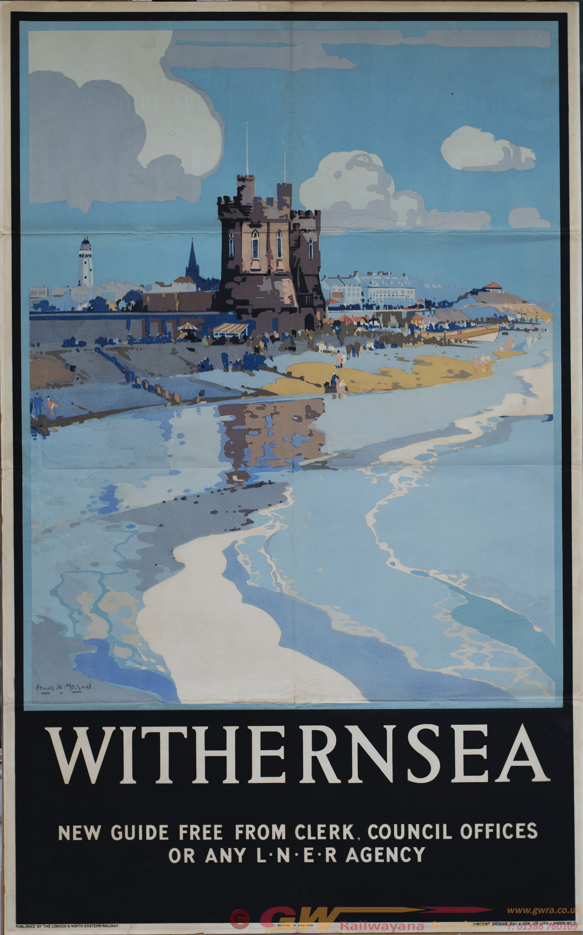 Poster LNER WITHERNSEA By Frank Mason. Double