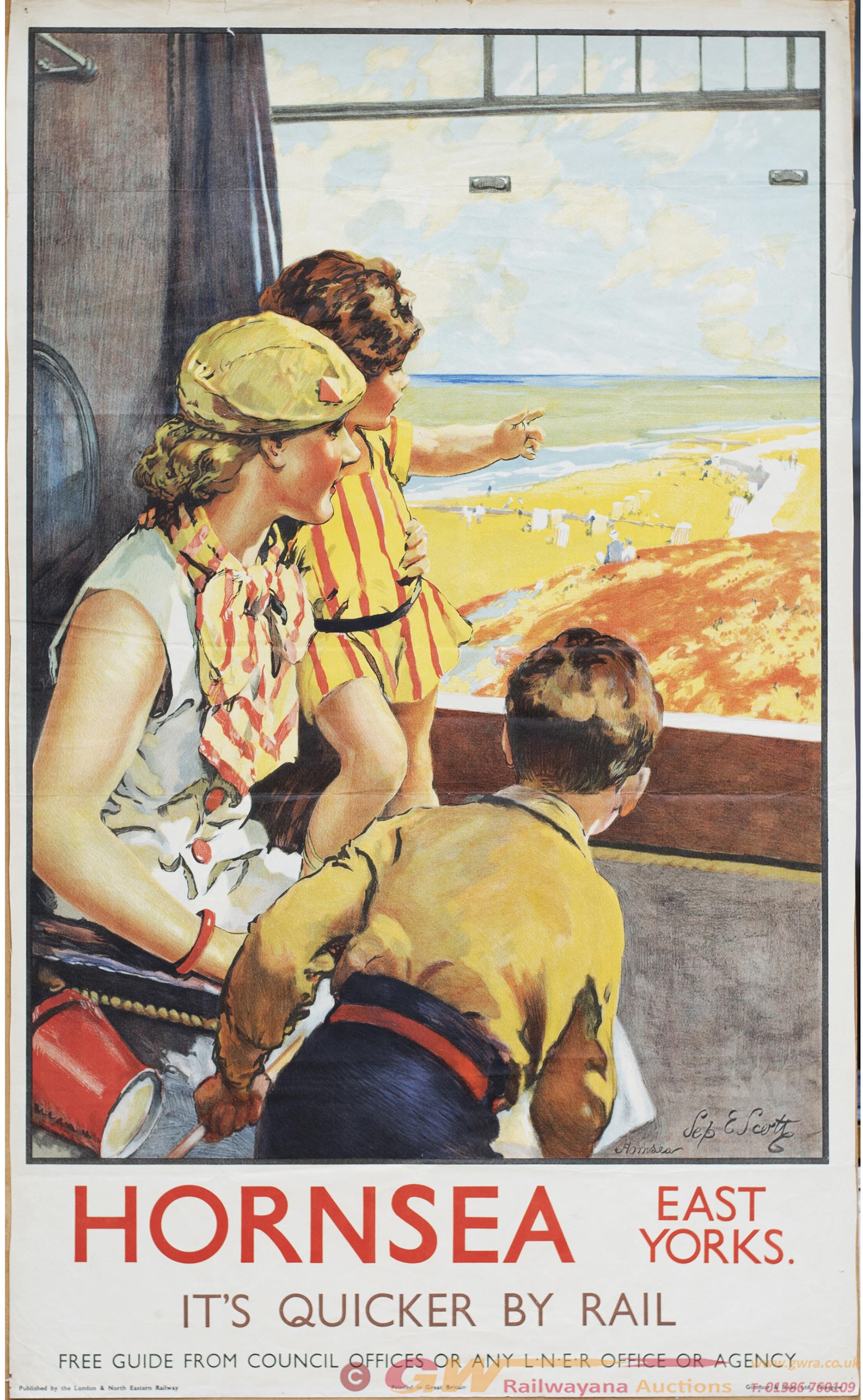Poster LNER HORNSEA By Septimus Scott. Double