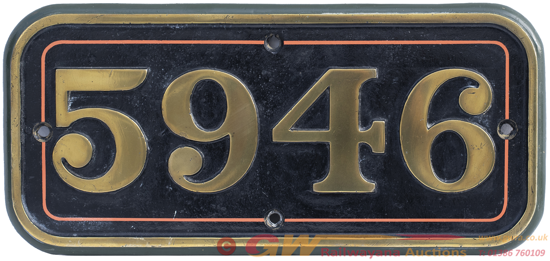 GWR Brass Cabside Numberplate 5946 Ex Marwell