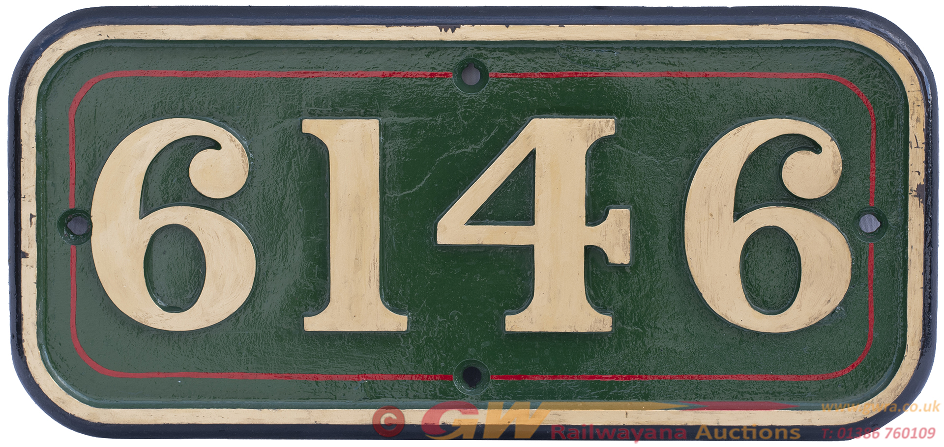 GWR Cast Iron Cabside Numberplate 6146 Ex Collett