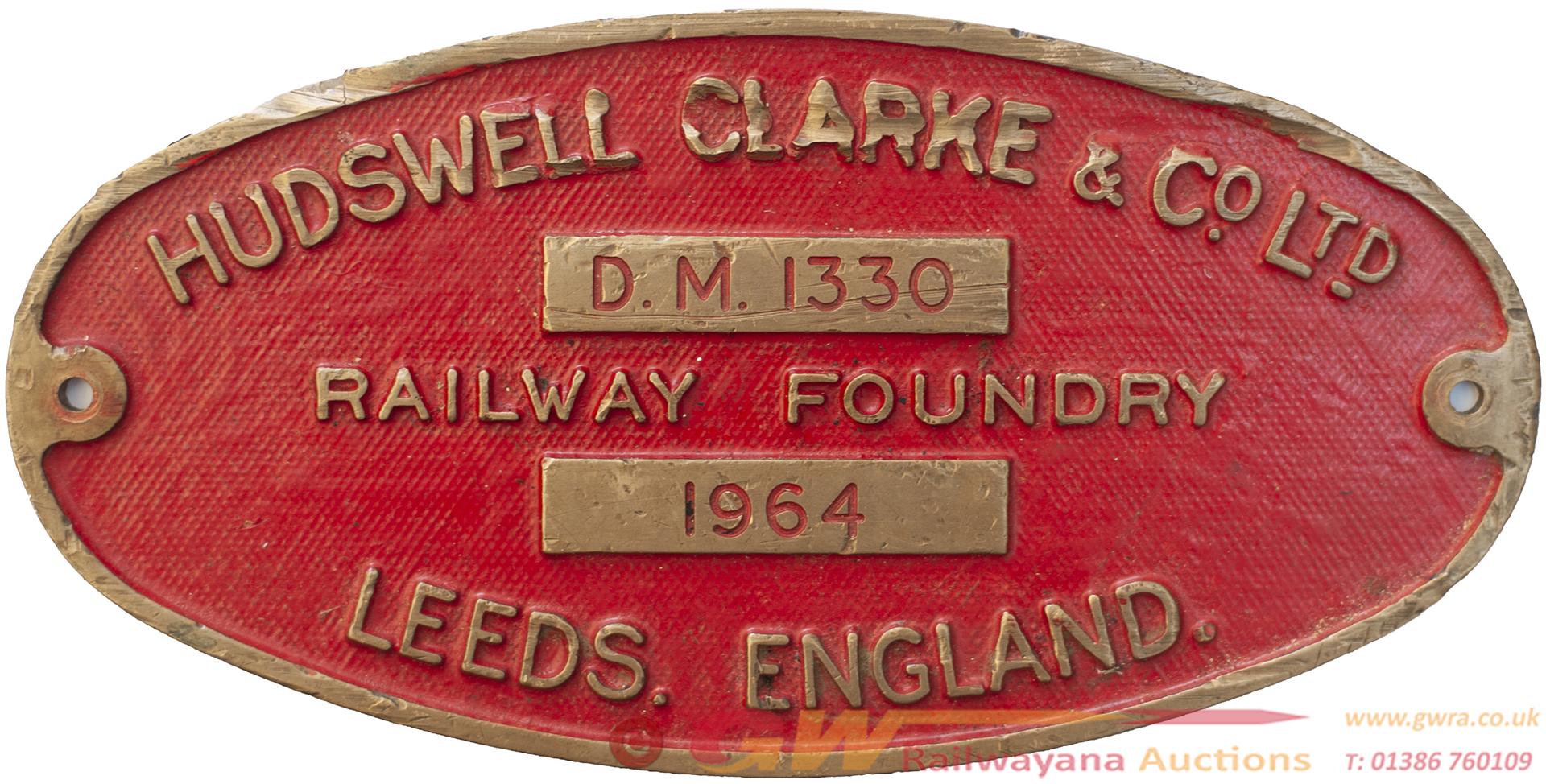 Worksplate HUDSWELL CLARKE & Co LTD RAILWAY FONDRY