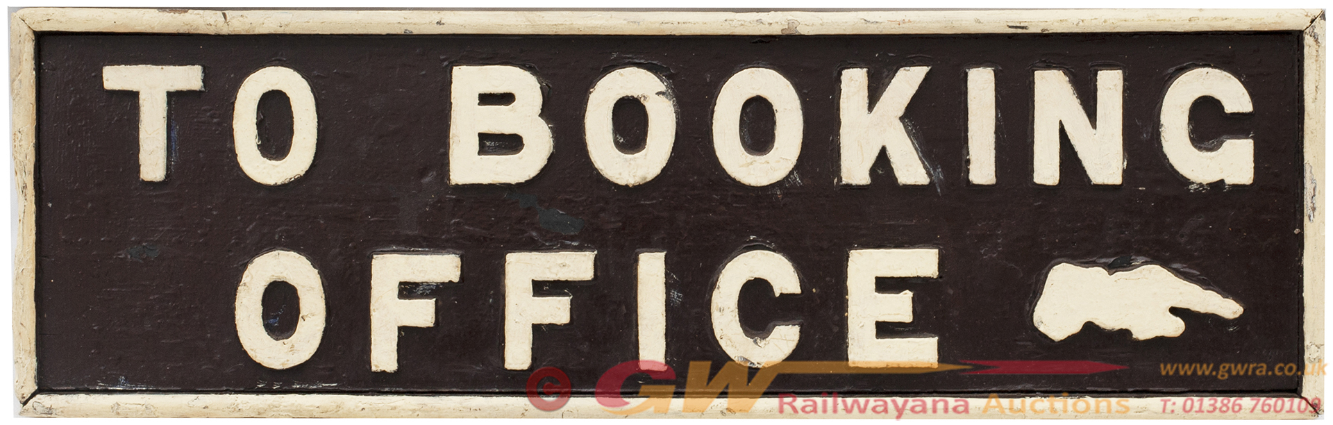 GWR Platform Sign TO BOOKING OFFICE With Pointing