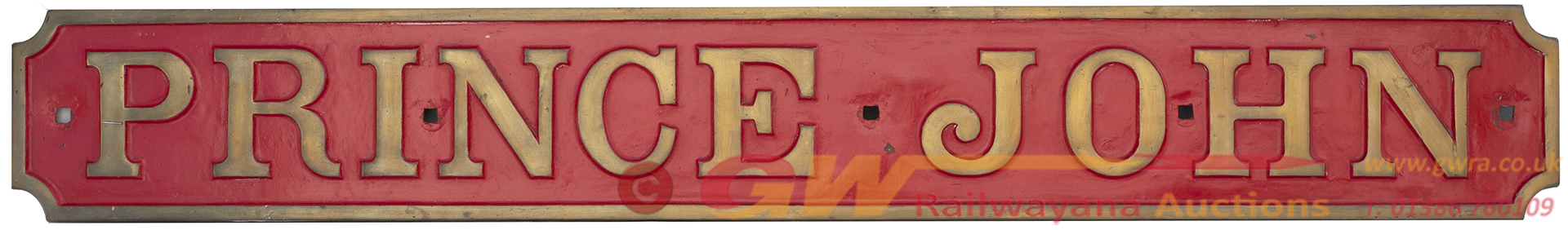Nameplate PRINCE JOHN Ex Andrew Barclay 0-4-0 ST
