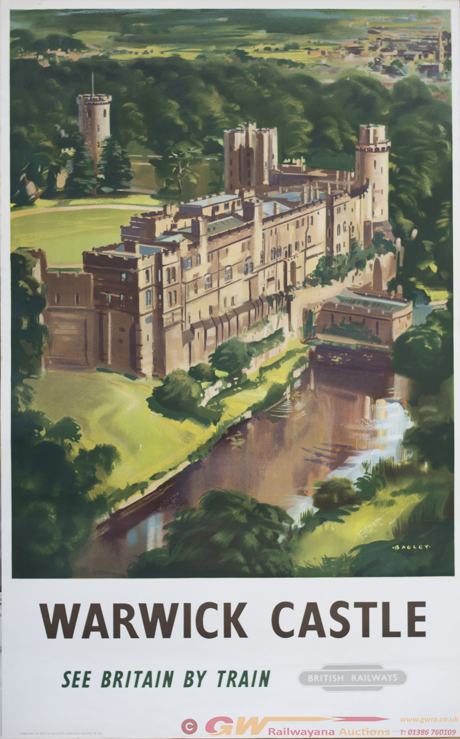 Poster BR(W) WARWICK CASTLE By Bagley. Double