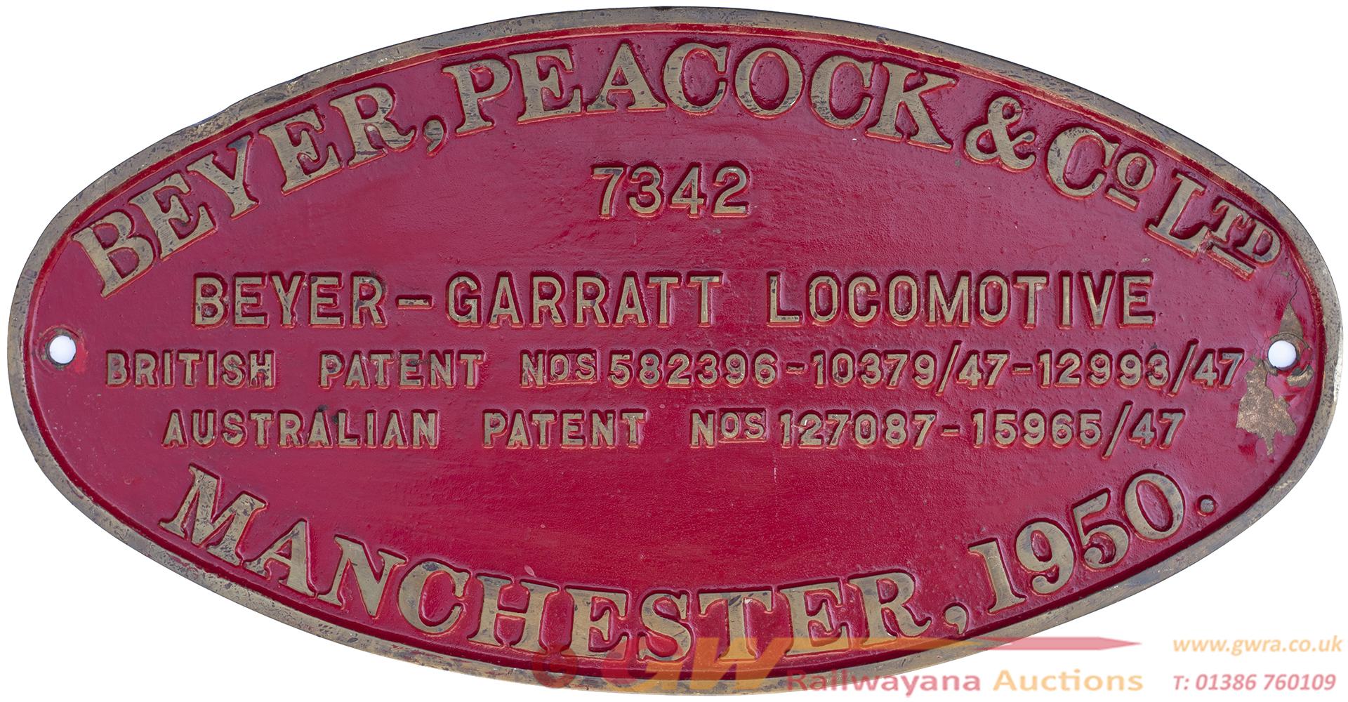 Worksplate BEYER PEACOCK & CO LTD MANCHESTER 1950