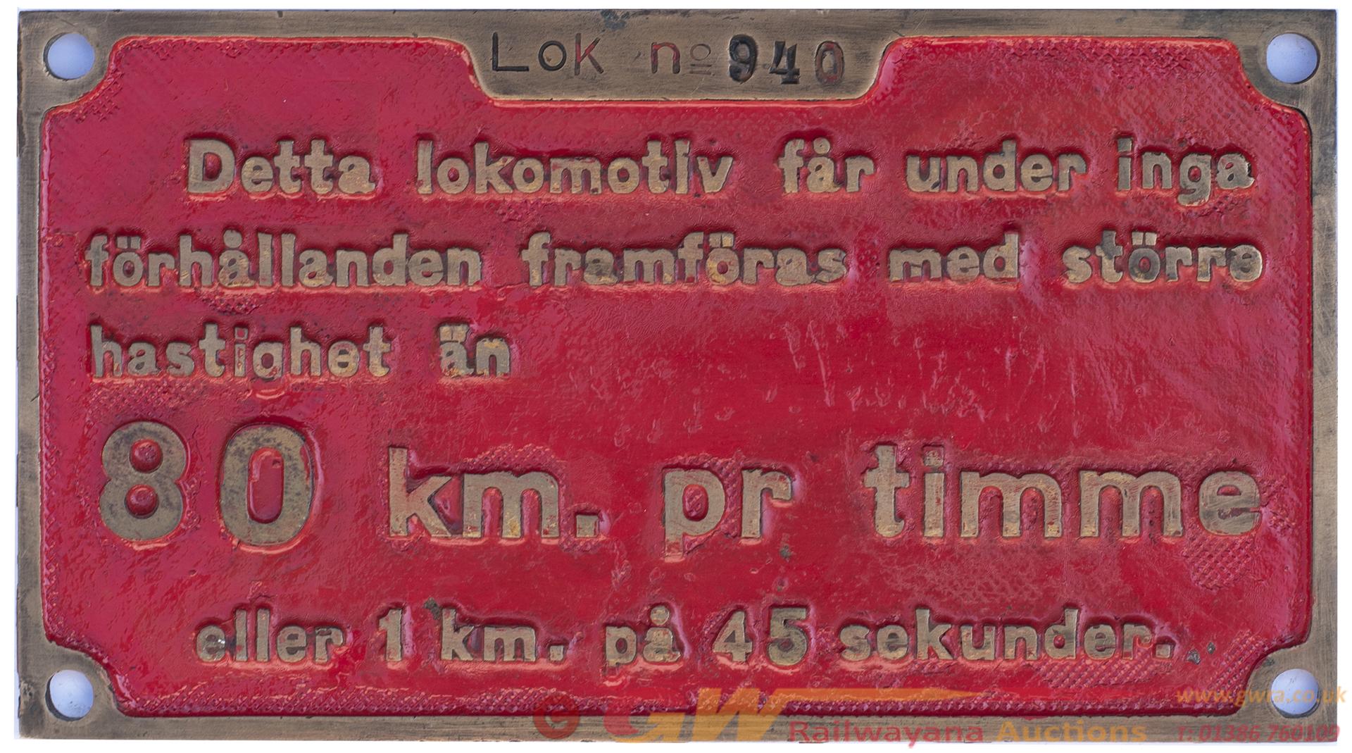 Cabplate LOK No 940: Ex Standard Gauge 2-6-2t New