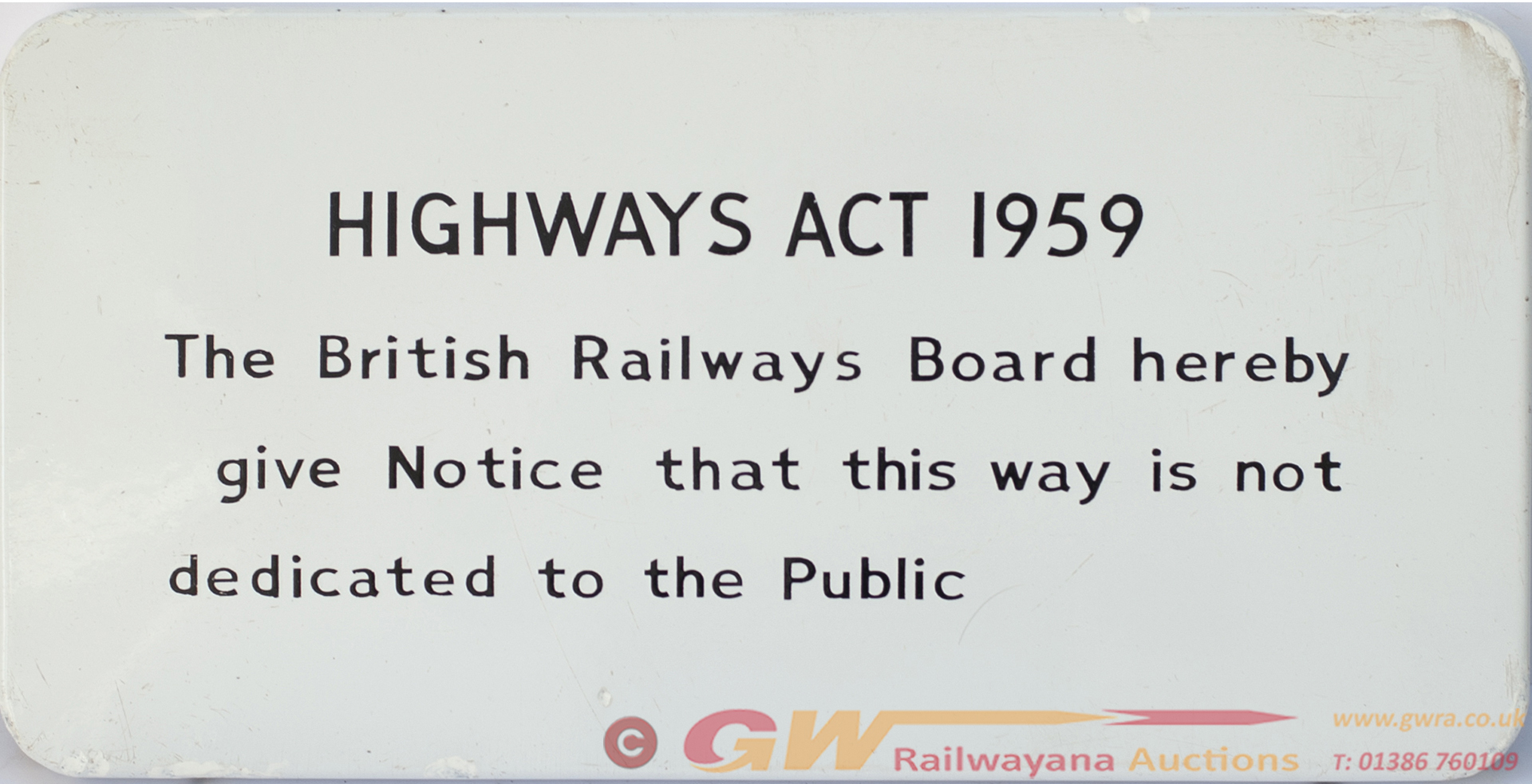 BR FF Enamel Railway Sign HIGHWAYS ACT 1959 THE