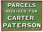 Advertising Enamel Sign PARCELS RECEIVED FOR - select image 1