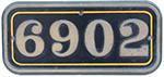 Cabside Numberplate 6902 Ex GWR Hall 4-6-0 Butlers - select image 1