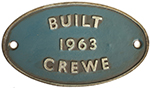 Worksplate BUILT CREWE 1963 Ex British Railways - select image 1