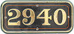 GWR Brass Cabside Numberplate 2940 Ex Churchward - select image 1