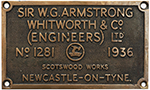 Worksplate SIR W. G. ARMSTRONG WHITWORTH & CO - select image 1