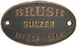 Worksplate BRUSH SULZER no564 1964 Ex British - select image 1