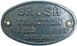Worksplate BRUSH TRACTION ENGLAND No 123 1959 Ex - select image 1