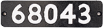 Smokebox Numberplate 68043 Ex War Department - select image 1