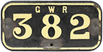 GWR Cast Iron Cabside Numberplate GWR 382 Ex Taff - select image 1