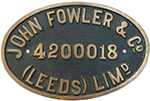 Worksplate JOHN FOWLER & Co (LEEDS) LIMD 420018 Ex - select image 1