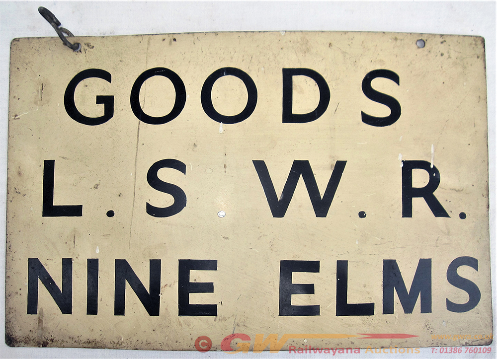 Metal Painted Hanging Sign. GOODS L.S.W.R NINE
