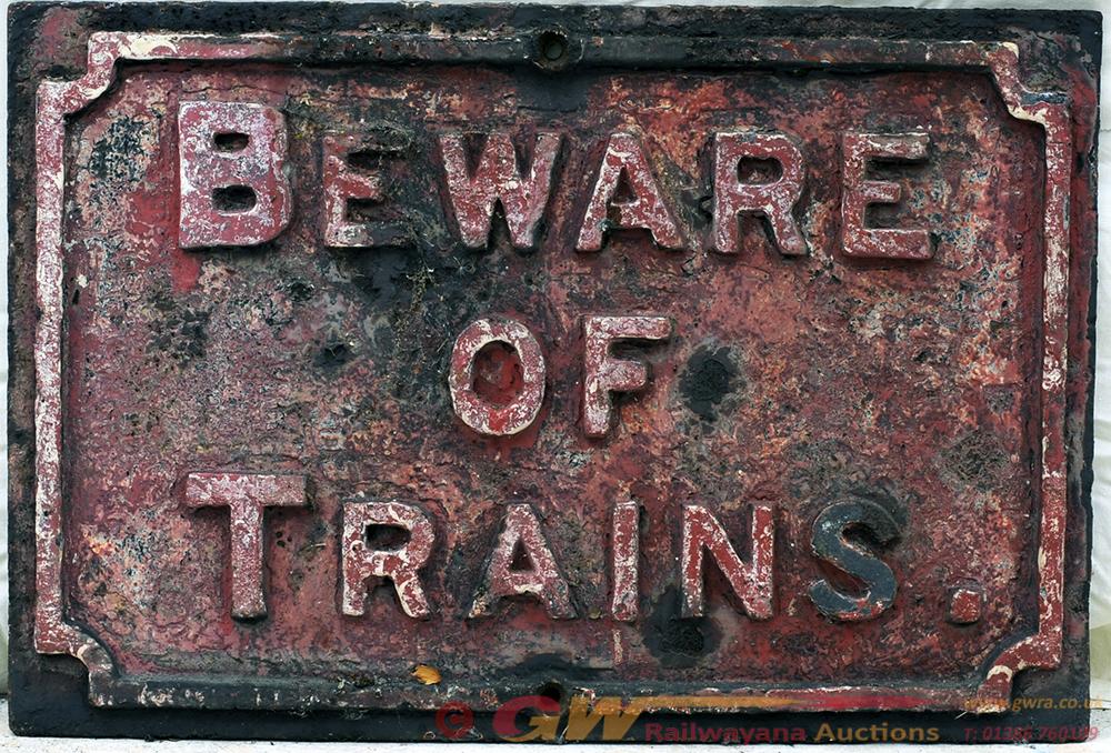 Midland Railway Cast Iron Sign. BEWARE OF TRAINS