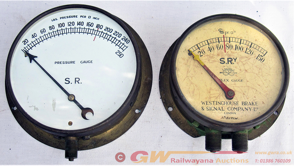 2 X Railway Pressure Gauges. SR 0-250 PSI And SR