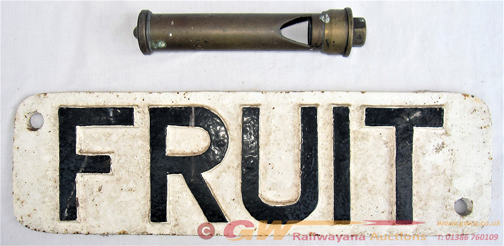 Cast Iron Wagon FRUIT Sign Together With A Steam