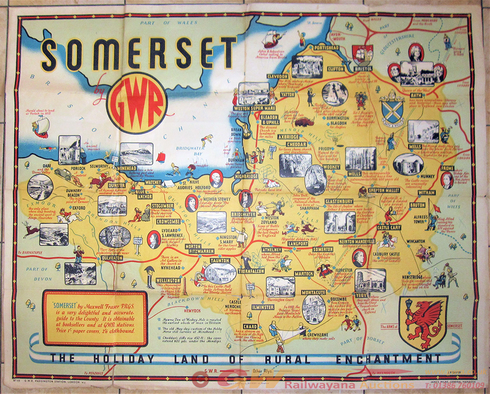 GWR Quad Royal Poster. GWR SOMERSET Showing Map - Posters