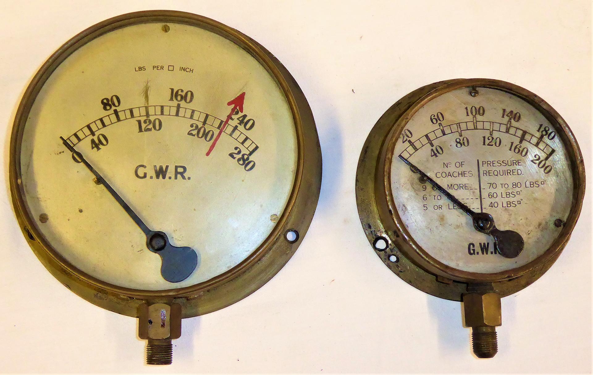 2 X Locomotive Brass Pressure Gauges. GWR 0 - 280