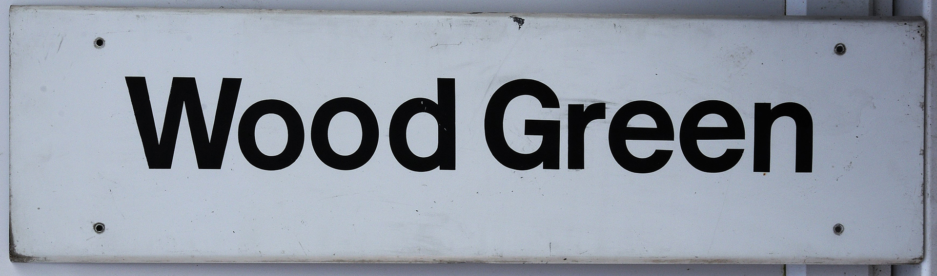 Modern Station Sign. WOOD GREEN. Measures 42in X