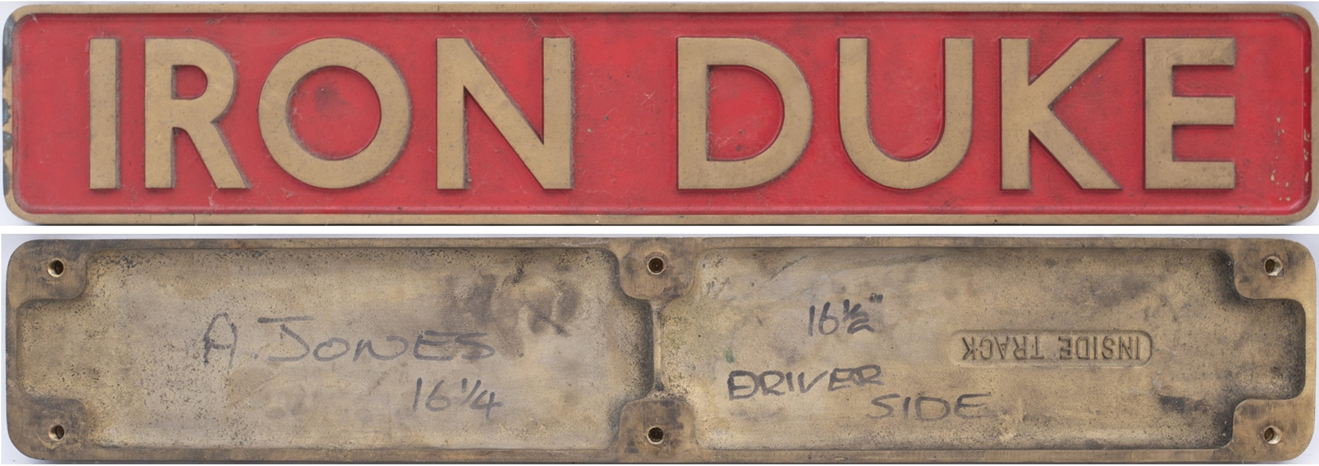 REPRODUCTION NAMEPLATE. IRON DUKE As Carried For A