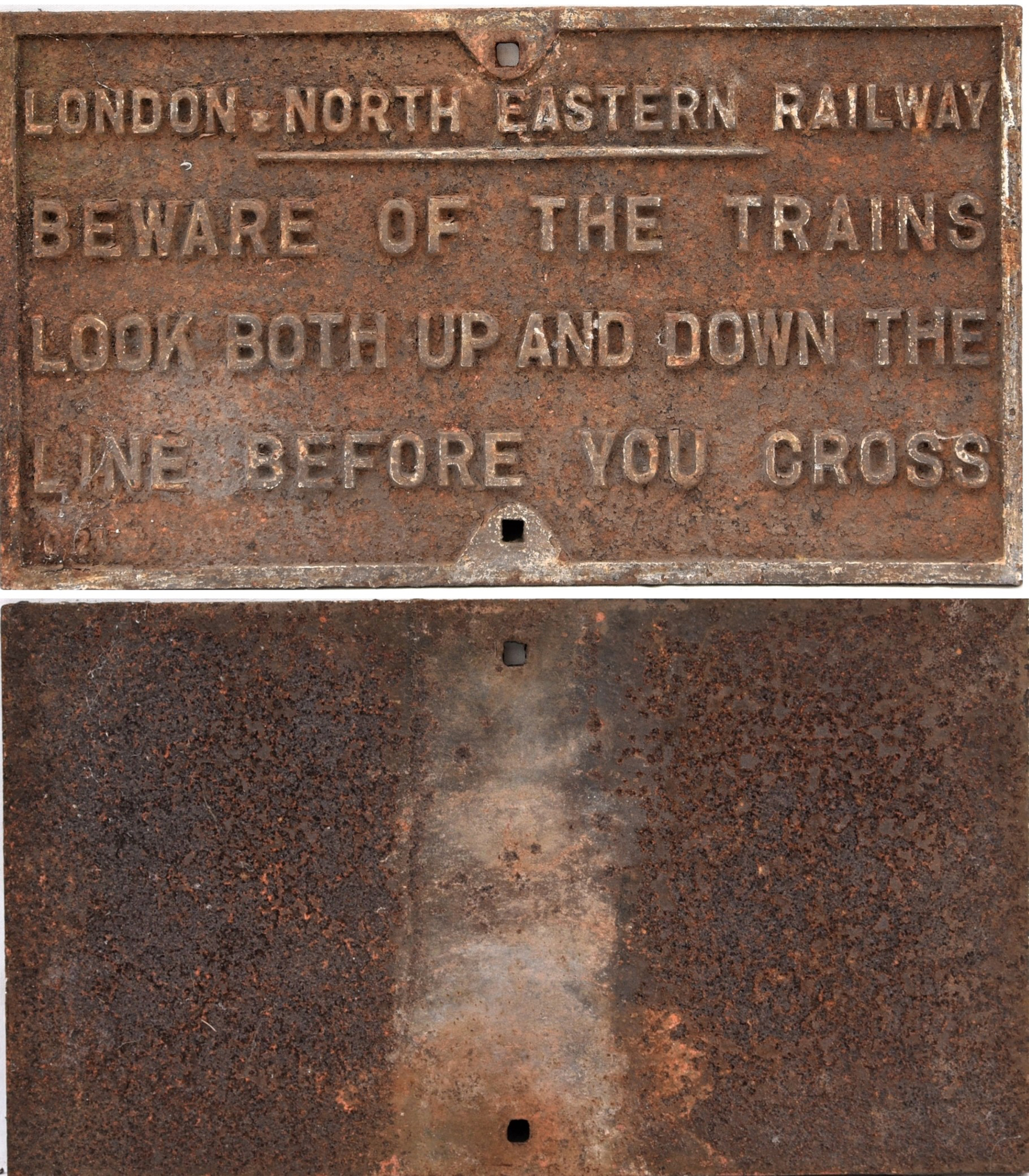LNER Cast Iron Sign. BEWARE OF THE TRAINS. LOOK UP
