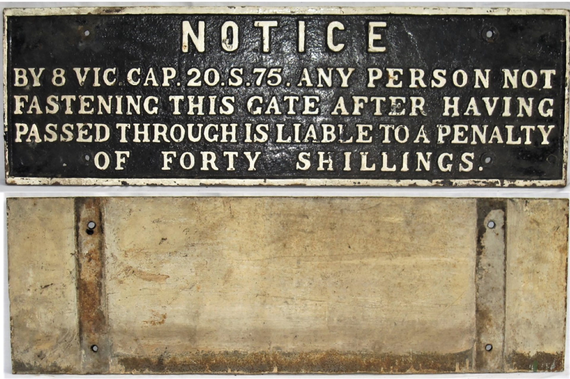 GWR Untitled Gate Notice. NOTICE BY 8 VIC 20.S.75