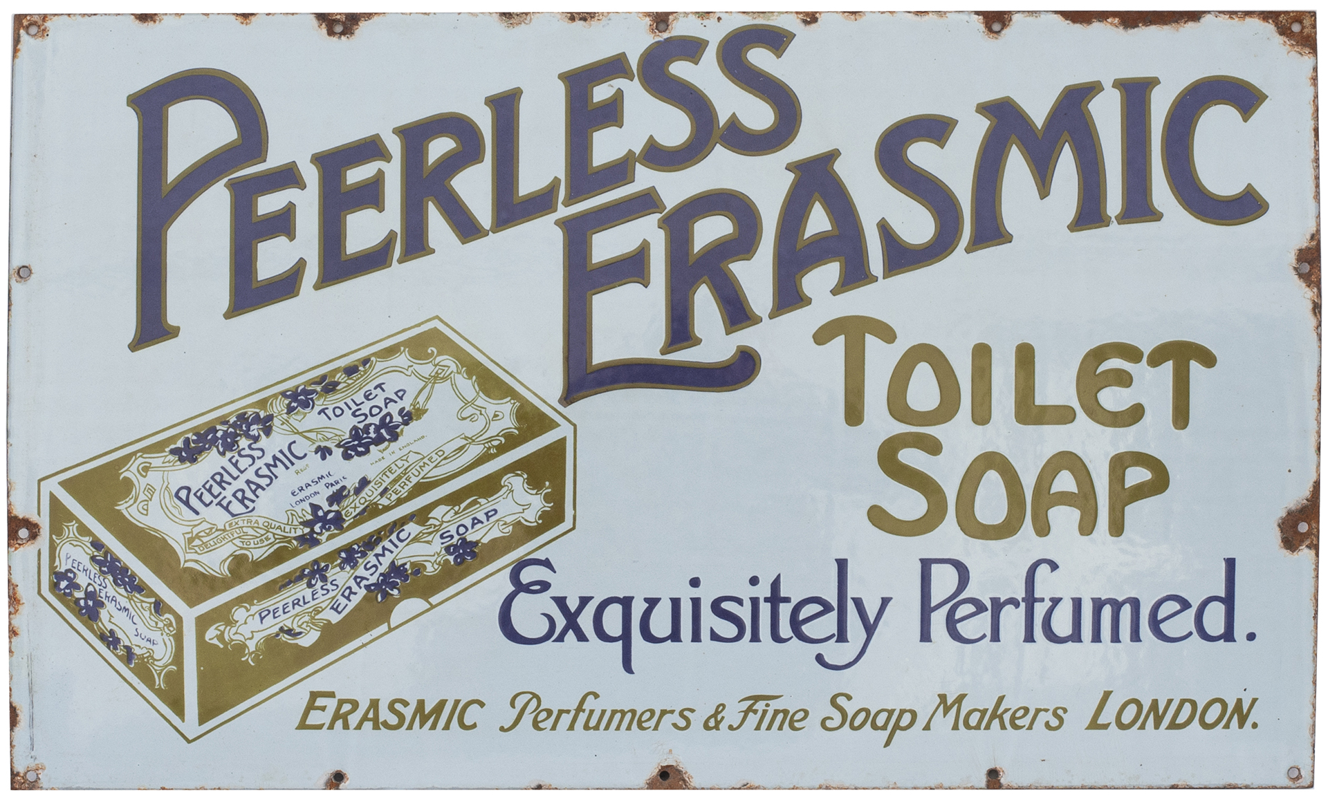 Advertising Enamel Sign PEERLESS ERASMIC TOILET