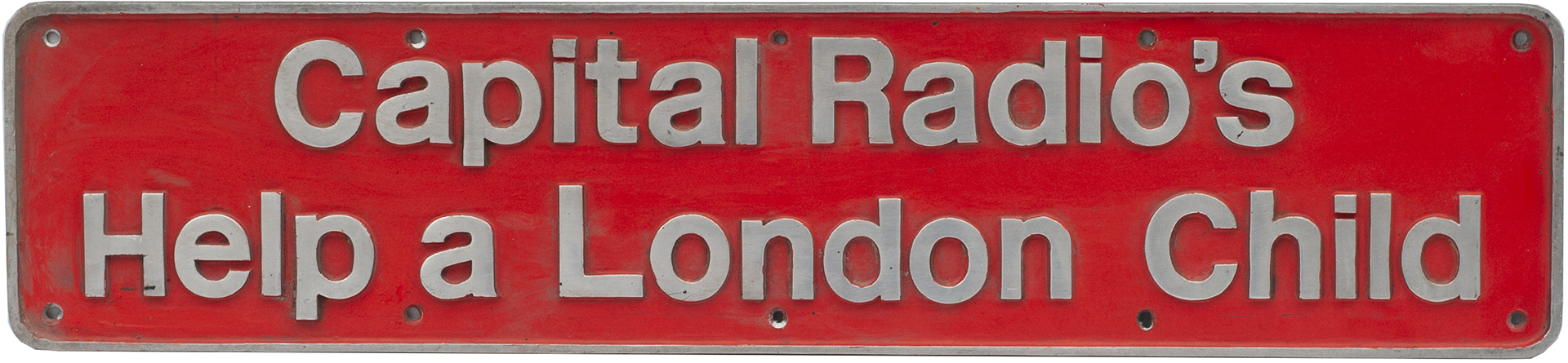 Nameplate CAPITAL RADIO'S HELP A LONDON CHILD Ex
