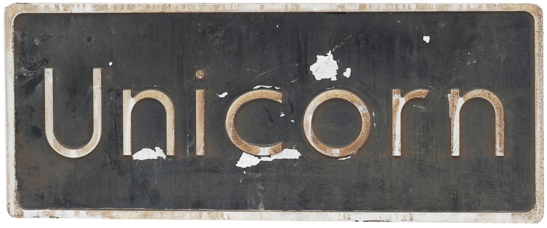 Nameplate UNICORN Ex British Railways Class 67